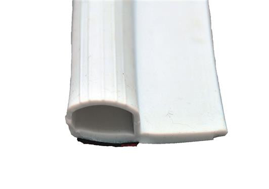 "Rubber Slide out Seal - w/ Wiper & Tape - White - 35' Roll - 5/8"" x 1-15/16"" x 35' - 018-314"