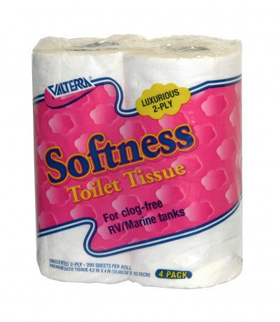 24 PACK CASE DEAL! - Softness RV Toilet Tissue 2-ply - 4 Pack  *While Supplies Last!!! Free Shipping!