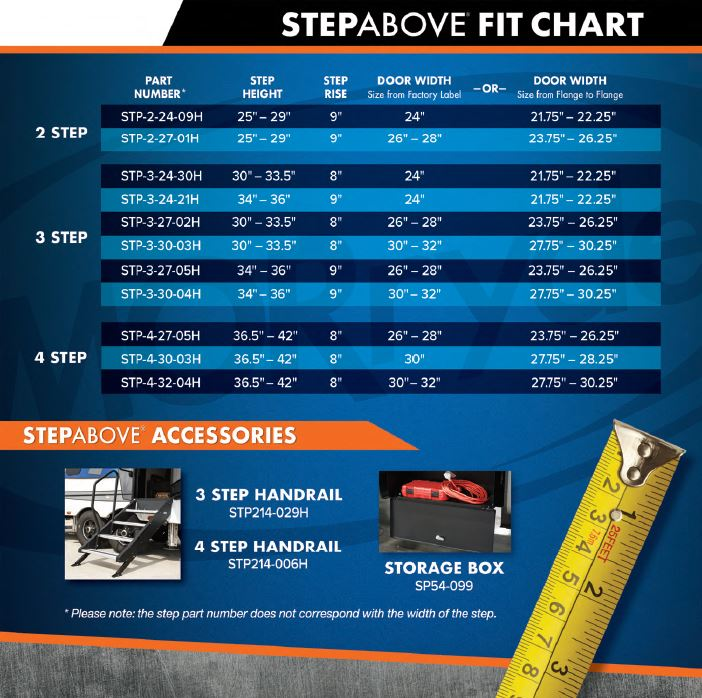 "27"" MorRyde Fold up RV Step - 4 Step - STP-4-27-05H"