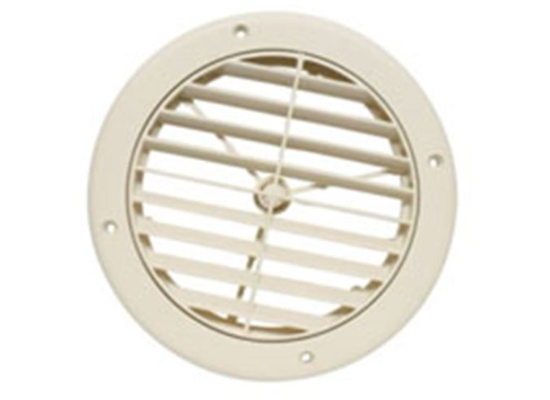 "5"" Louvered Adjustable A/C Ceiling Register - Round - Light Beige  A10-3362VP"