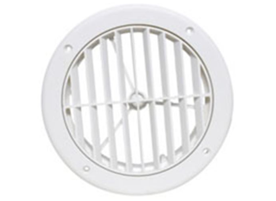 "5"" Louvered Adjustable A/C Ceiling Register - Round - White  A10-3363VP"