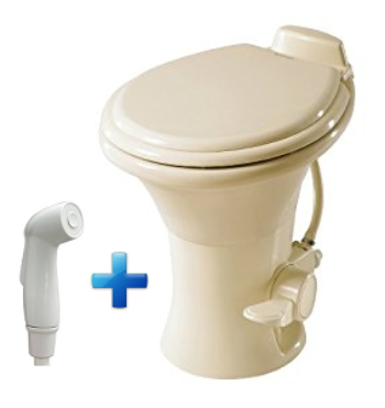 Dometic 310 RV Toilet with Spray - Bone  302310183  *Ships Free!