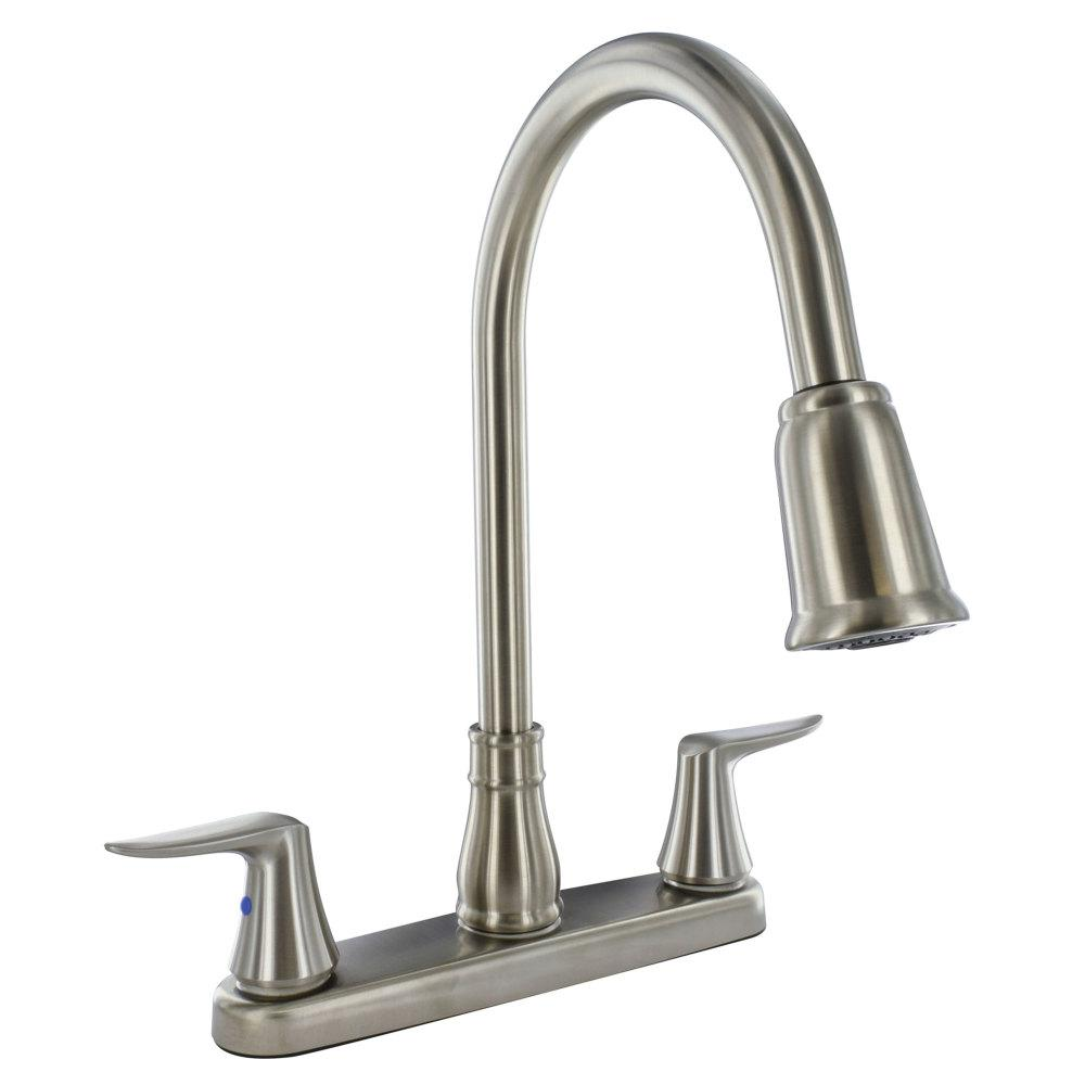 "Kitchen Faucet - 8"" Deck Hi-Arc Spout - Brushed Nickel PF221404"