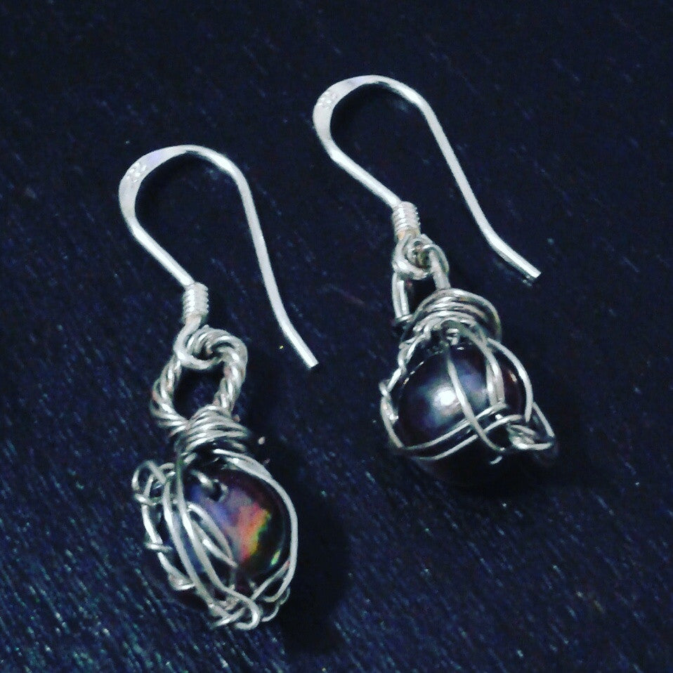 Raven Pearl Drop Earrings