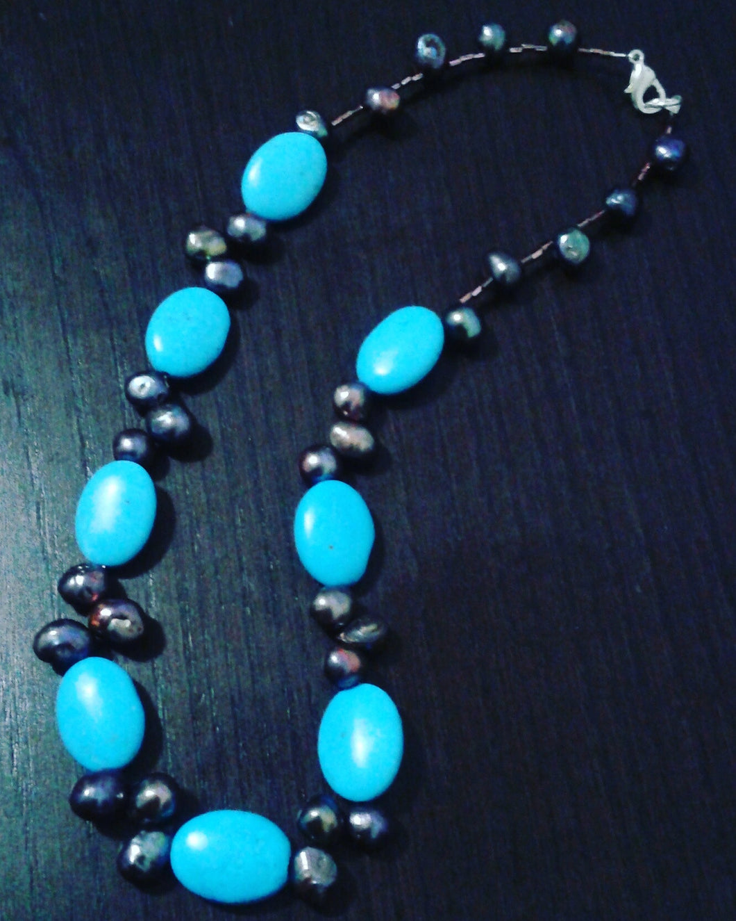 Turquoise & Raven necklace