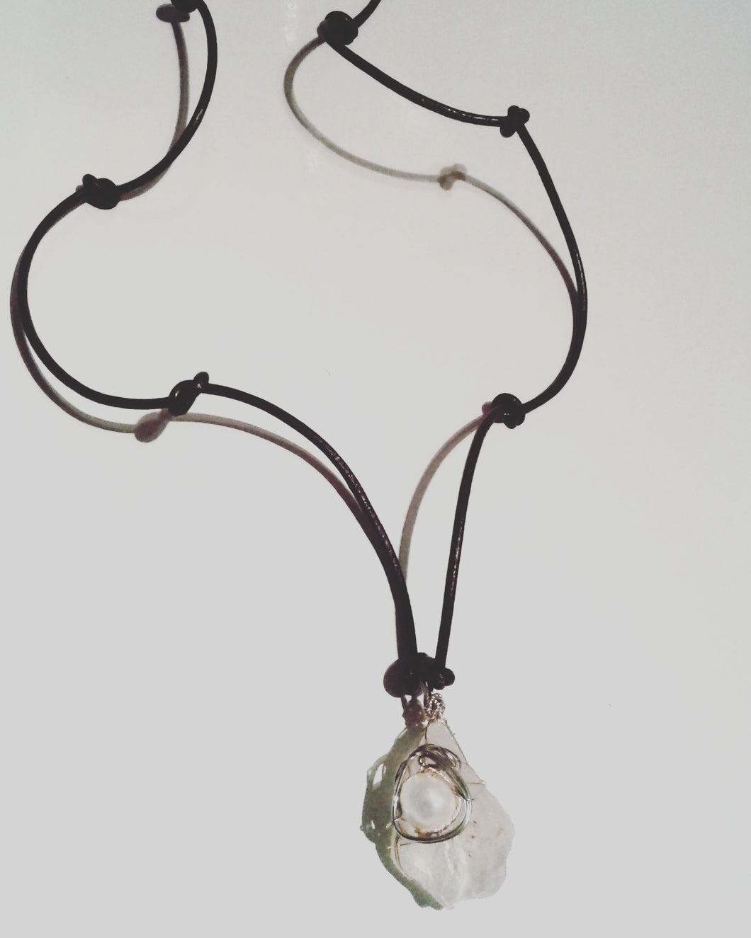 Leather Knotted Calcite Necklace