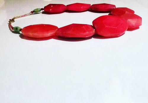 Red Faceted Quartz Necklace