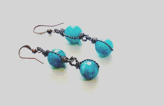 "Facetted Quarzt Earrings (Sky) ""DECADE"