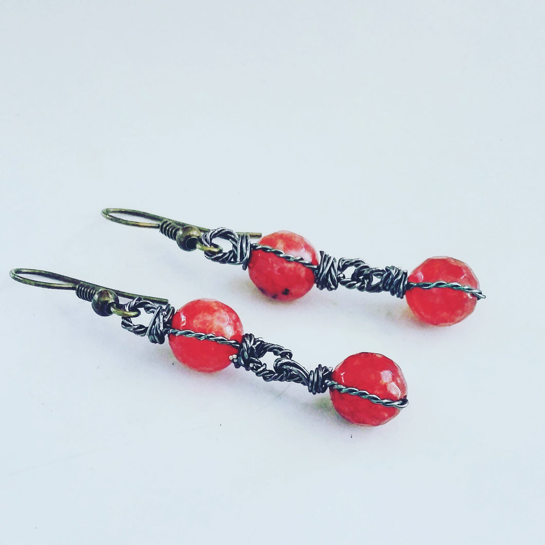 Faceted Quartz Earrings (Scarlet)