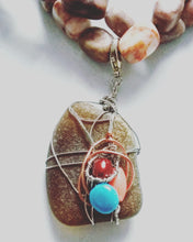 "Double-Strand Pendant Necklace (Jasper & Sea Glass) ""Santa Fe"" A/W 2020"
