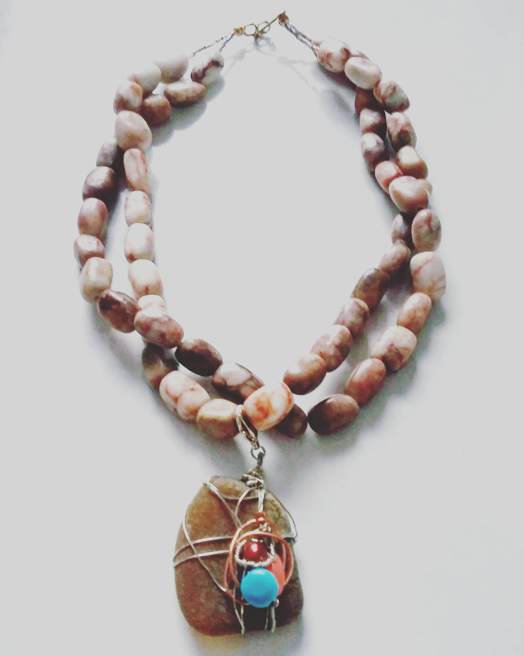 Double-Strand Pendant Necklace (Jasper & Sea Glass)
