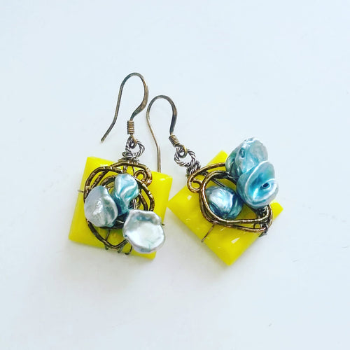 Tile & Freshwater Pearl (Canary Yellow) Earrings