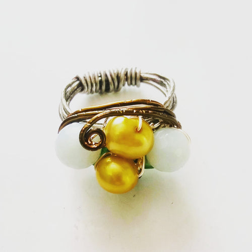 Cocktail Ring with Freshwater Pearls