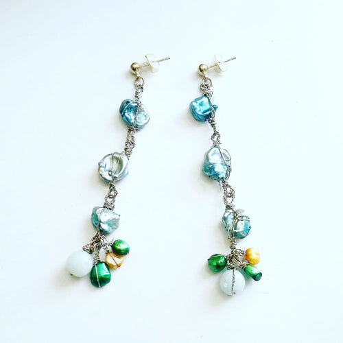 Long Freshwater Pearl Earrings (Powder Blue & Mint Green)
