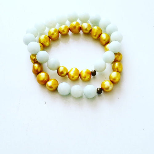 Double Stretchy Bracelet Set (Canary Yellow & Mint Green)