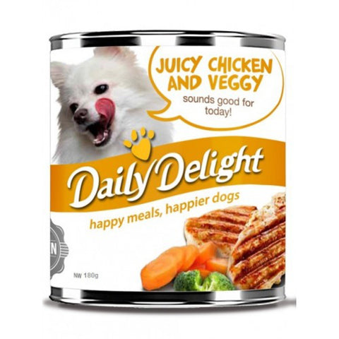 Daily Delight Juicy Chicken And Veggy Canned Dog Food 180g (carton of 24)