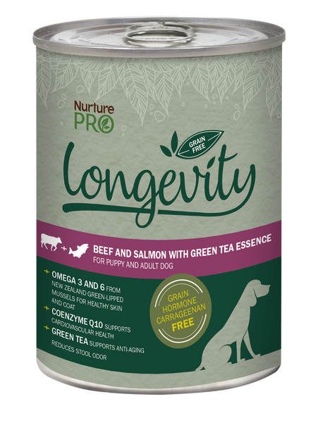 Nurture Pro Longevity Beef & Salmon with Green Tea Essence Grain Free Canned Dog Food 375g