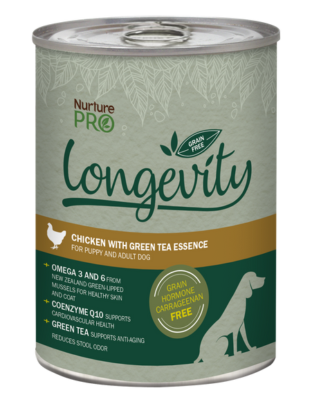 Nurture Pro Longevity Chicken with Green Tea Essence Grain Free Canned Dog Food 375g
