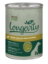 Nurture Pro Longevity free Venison with Green Tea Essence Grain Free Canned Dog Food 375g