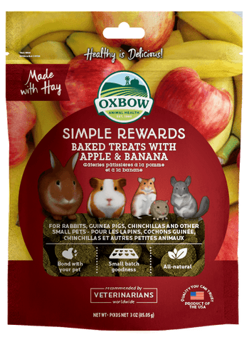 Oxbow Simple Rewards Baked Treats With Apple & Banana For Small Animals 85g
