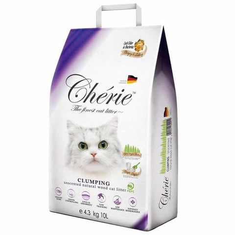 Cherie Unscented Clumping Natural Wood Cat Litter 10L