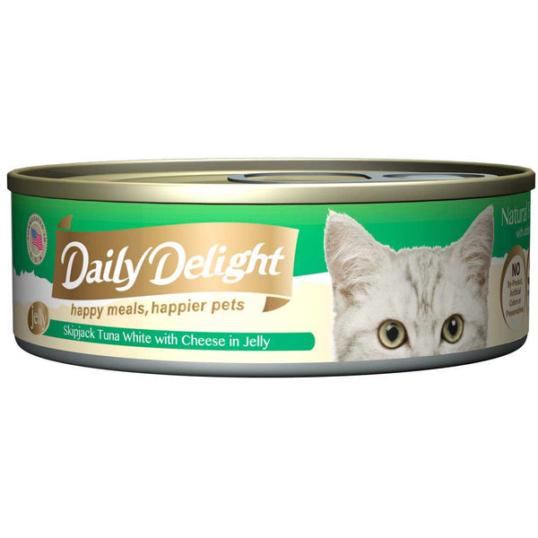 Daily Delight Skipjack Tuna White with Cheese in Jelly Canned Cat Food 80g (carton of 24)