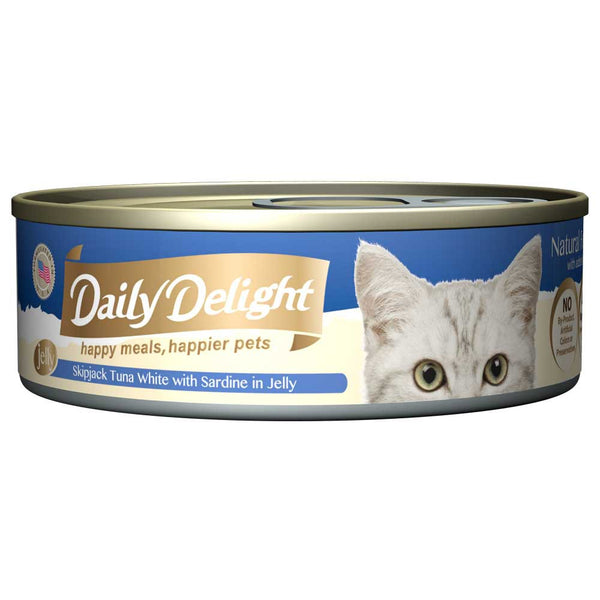 Daily Delight Skipjack Tuna White with Sardine in Jelly Canned Cat Food 80g (carton of 24)