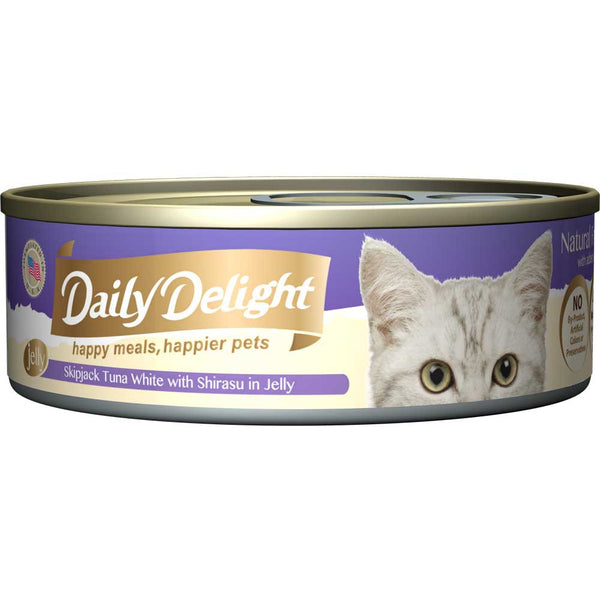 Daily Delight Skipjack Tuna White with Shirasu in Jelly Canned Cat Food 80g (carton of 24)