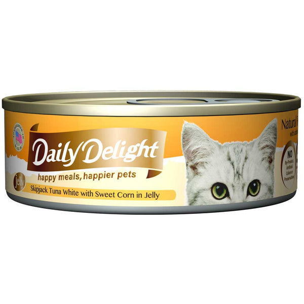 Daily Delight Skipjack Tuna White with Sweet Corn in Jelly Canned Cat Food 80g (carton of 24)