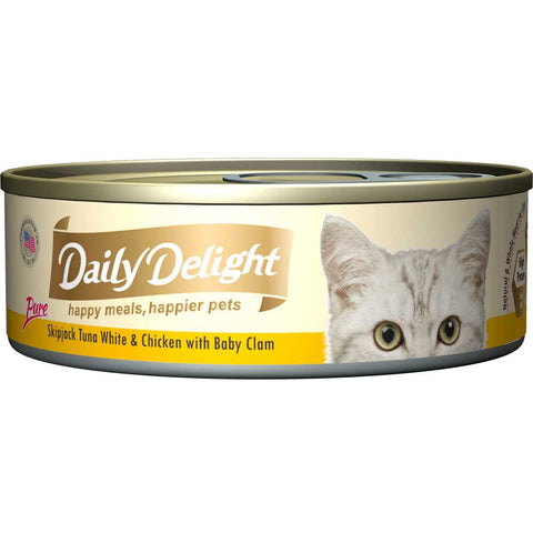 Daily Delight Pure Skipjack Tuna White & Chicken with Baby Clam Canned Cat Food 80g (carton of 24)
