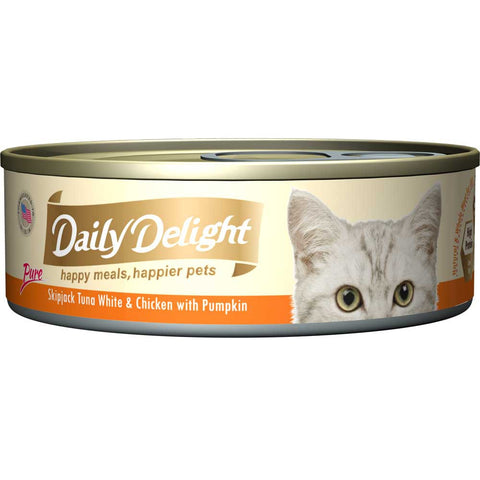 Daily Delight Pure Skipjack Tuna White & Chicken with Pumpkin Canned Cat Food 80g (carton of 24)