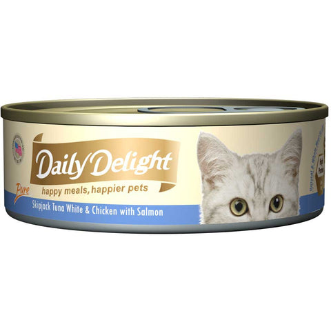Daily Delight Pure Skipjack Tuna White & Chicken with Salmon Canned Cat Food 80g (carton of 24)
