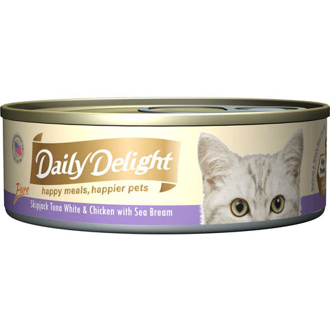 Daily Delight Pure Skipjack Tuna White & Chicken with Sea Bream Canned Cat Food 80g (carton of 24)