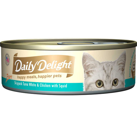 Daily Delight Pure Skipjack Tuna White & Chicken with Squid Canned Cat Food 80g (carton of 24)