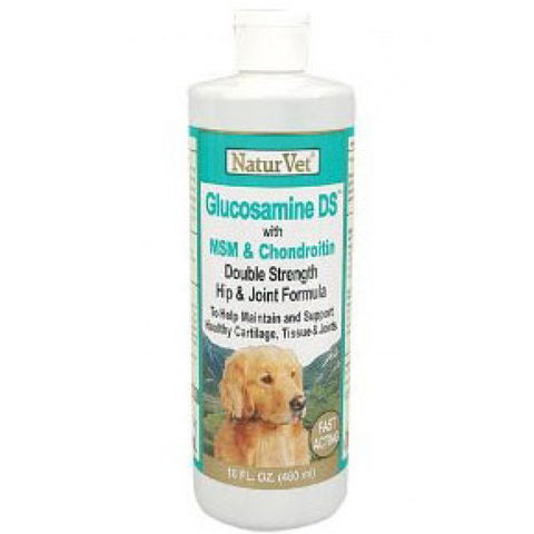 NaturVet Glucosamine Double Strength With MSM & Chondroitin Liquid Dog Joint Supplement 8oz