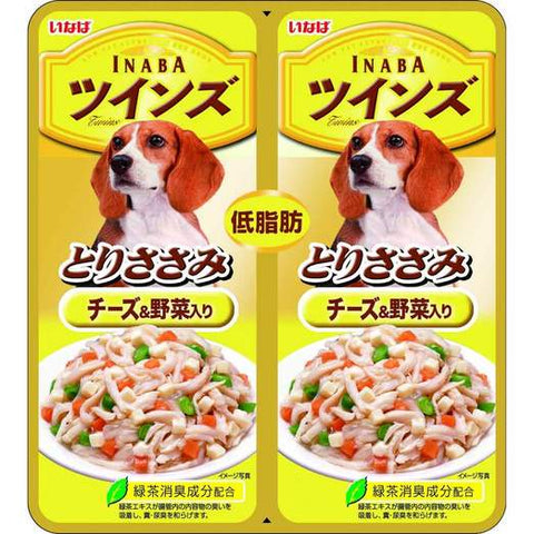 Inaba Chicken Fillet with Cheese & Vegetables in Jelly Twin Pouch Dog Food 80g
