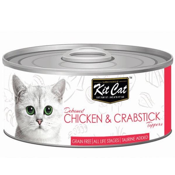 Kit Cat Deboned Chicken & Crabstick Toppers Canned Cat Food 80g