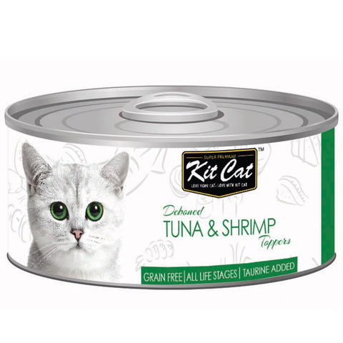 Kit Cat Deboned Tuna & Shrimp Toppers Canned Cat Food 80g