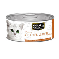 Kit Cat Grain-Free Deboned Chicken & Beef Aspic Canned Cat Food 80g