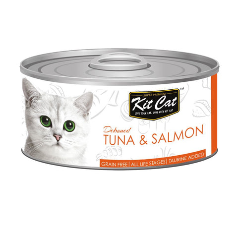 Kit Cat Grain-Free Deboned Tuna & Salmon Canned Cat Food 80g
