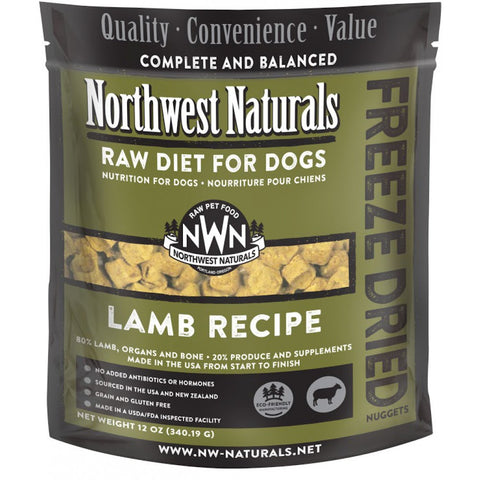 Northwest Naturals Lamb Freeze Dried Raw Diet For Dogs 12oz