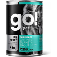 GO! Fit + Free Grain-Free Chicken, Turkey & Trout Stew Canned Dog Food 374g