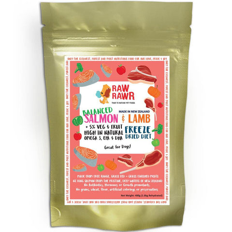 Raw Rawr Salmon & Lamb Freeze Dried Balanced Diet Dog Food