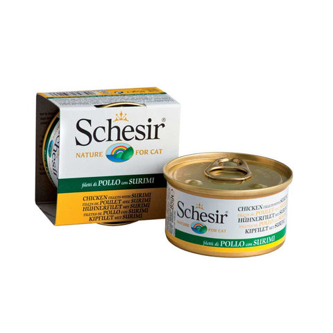 Schesir Chicken Fillet with Surimi in Jelly Canned Cat Food 85g (Carton of 14)