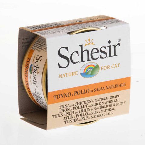 Schesir Tuna and Chicken in Natural Gravy Canned Cat Food 70g (Carton of 14)