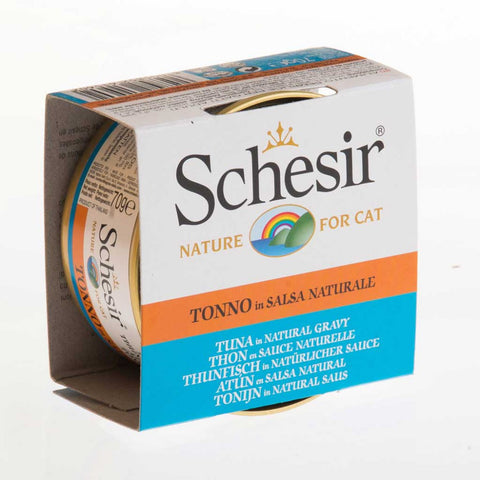Schesir Tuna in Natural Gravy Canned Cat Food 70g (Carton of 14)