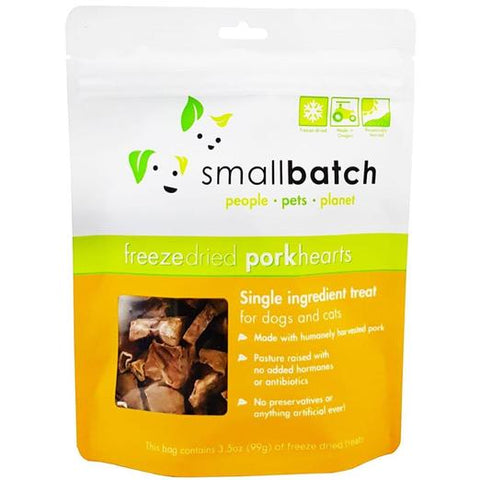 Smallbatch Pork Hearts Freeze Dried Cat & Dog Treats 3.5oz