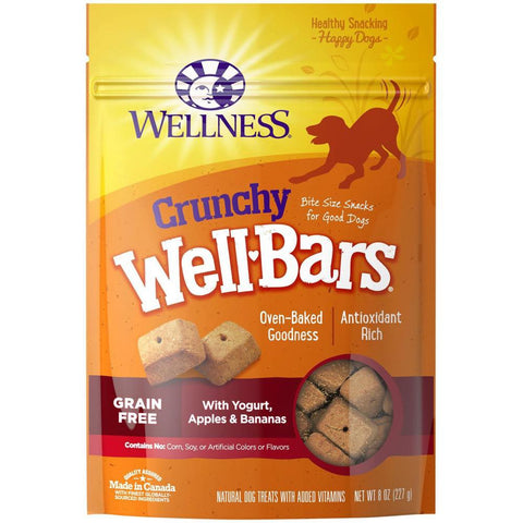 Wellness Crunchy WellBars Yogurt, Apples & Bananas Recipe Dog Treats 8oz