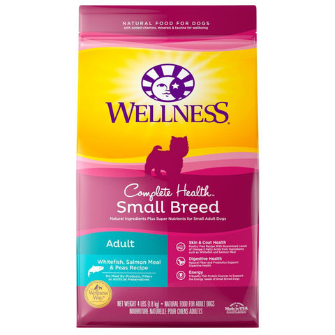Wellness Complete Health Small Breed Adult Whitefish, Salmon Meal & Peas Dry Dog Food