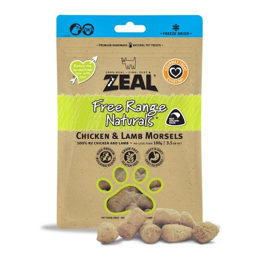 Zeal Free Range Naturals Chicken & Lamb Morsels Freeze-Dried Dog Treats 100g